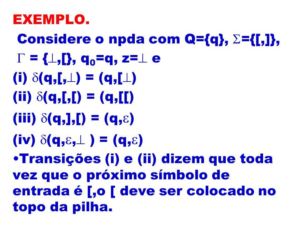 EXEMPLO. Considere o npda com Q={q}, ={[,]},  = {,[}, q0=q, z= e. (i) (q,[,) = (q,[) (ii) (q,[,[) = (q,[[)